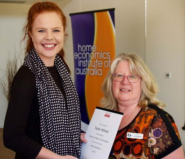 2017 O'Malley Trust Scholarship recipient, Taylor Wilmot. Presented by Narelle Bennett.